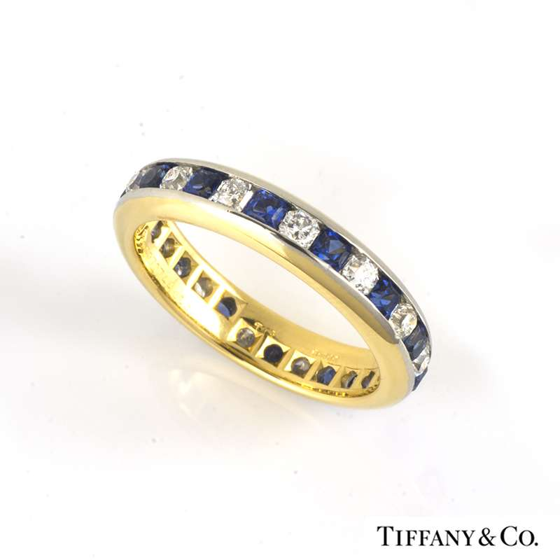 673cfb2a9 Tiffany & Co. 18k Yellow Gold Lucida Diamond & Sapphire Eternity Ring -  Rich Diamonds Of Bond Street